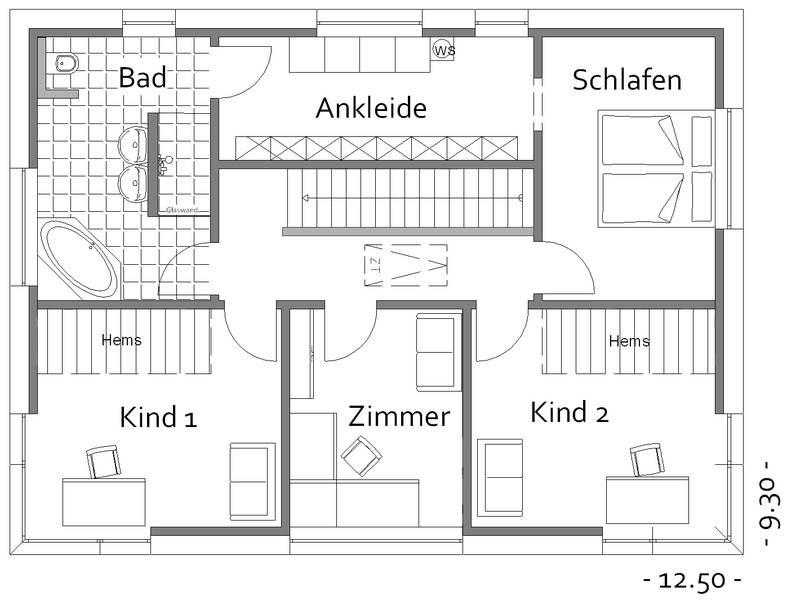 Grundriss einfamilienhaus erdgeschoss  Grundriss Musterhaus Obergeschoss | Haus... | Pinterest ...