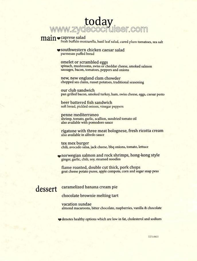 Carnival Magic Mdr Menus May 10 22 2011 Carnival Magic Carnival Cruise Carnival Sunshine