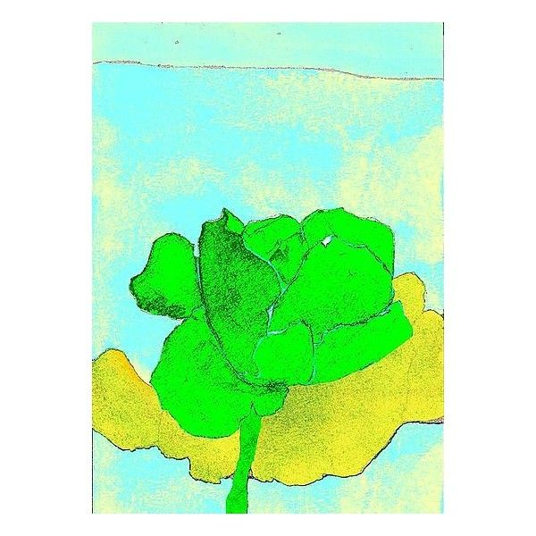 Joan Gold Blossom in Green Giclee Print ($250) ❤ liked on Polyvore featuring home, home decor, wall art, art, flowers, flower stem, green home decor, giclee painting, flower paintings y ink painting