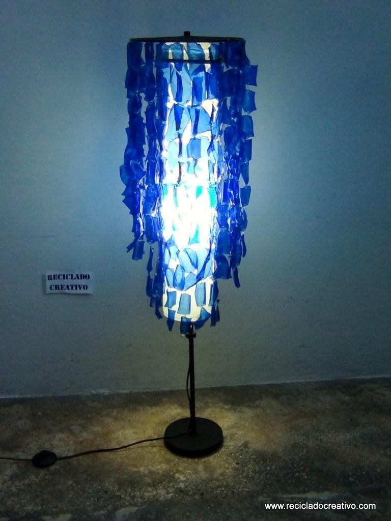 de reciclando Pie Lámpara botellas plástico Chandelier de 354ARqjL