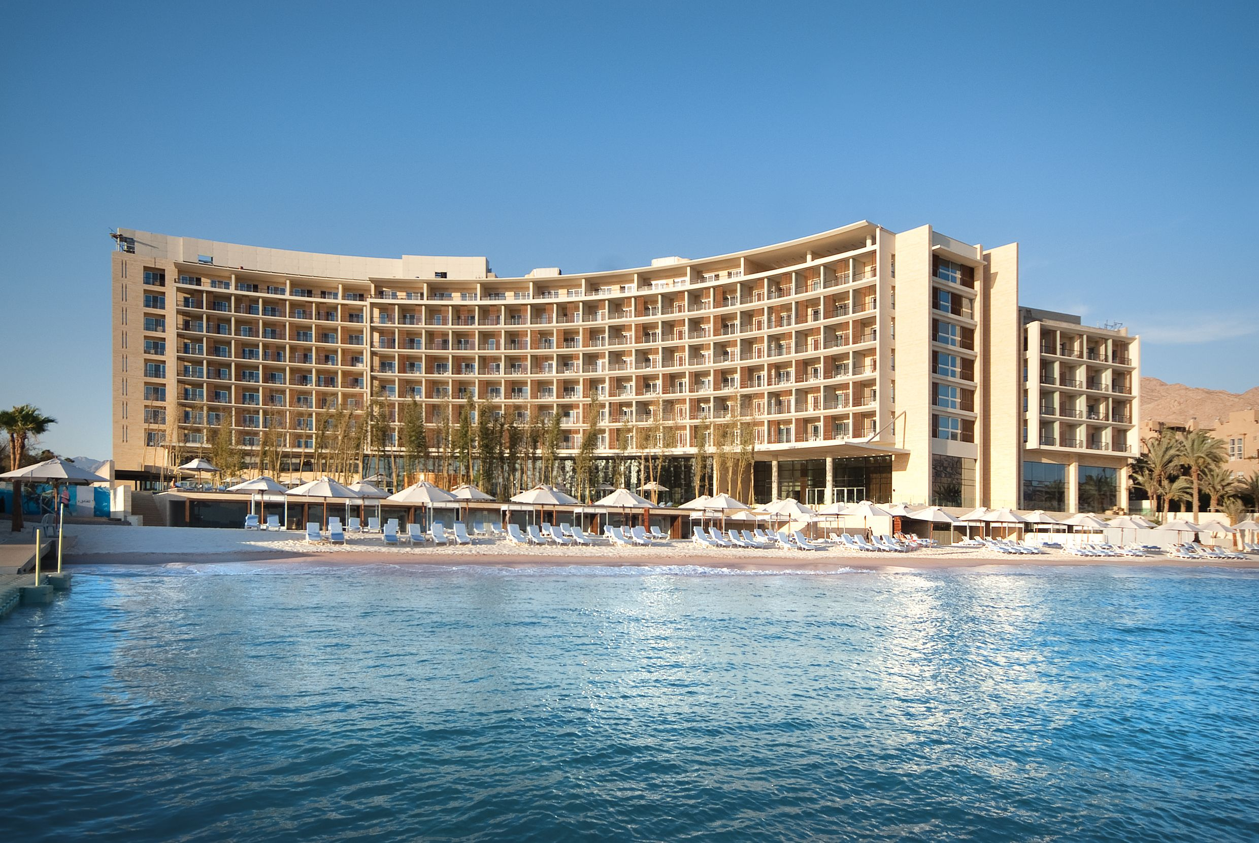 Kempinski Hotel Aqaba, Jordan! The design hotel is perfect because it allows every single guest to enjoy the view over the Red Sea.