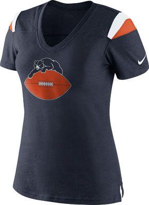 Chicago Bears Women's Navy Nike Retro Fashion V-Neck T-Shirt
