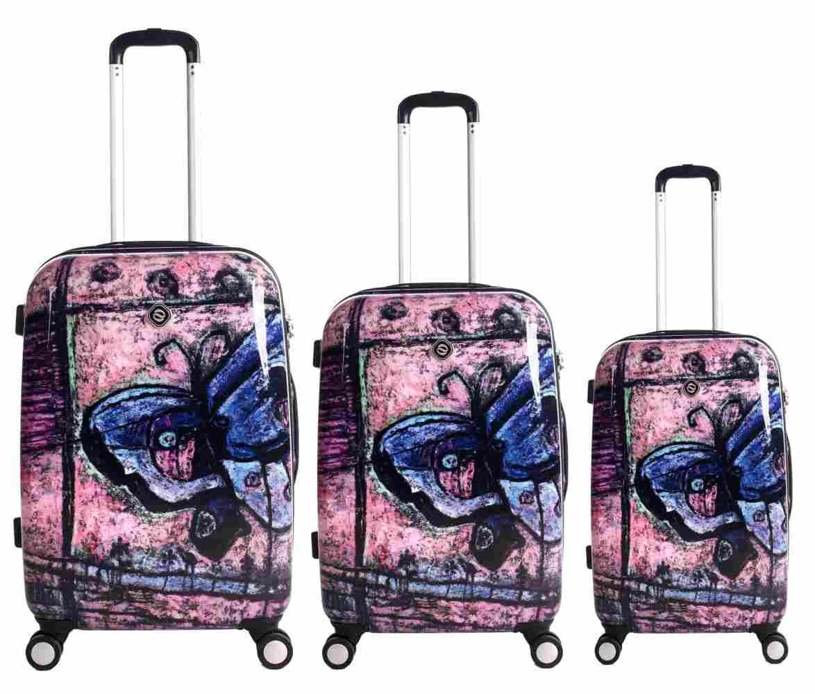 Spinner Luggage Neocover Traveling Butterfly 3-piece Hardside ...