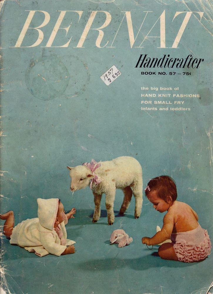 Vtg Knitting Crochet Patterns Baby Bernat Handicrafter Toddler Layette 1957 VTNS #BernatHandicrafter #VintagePatternBook