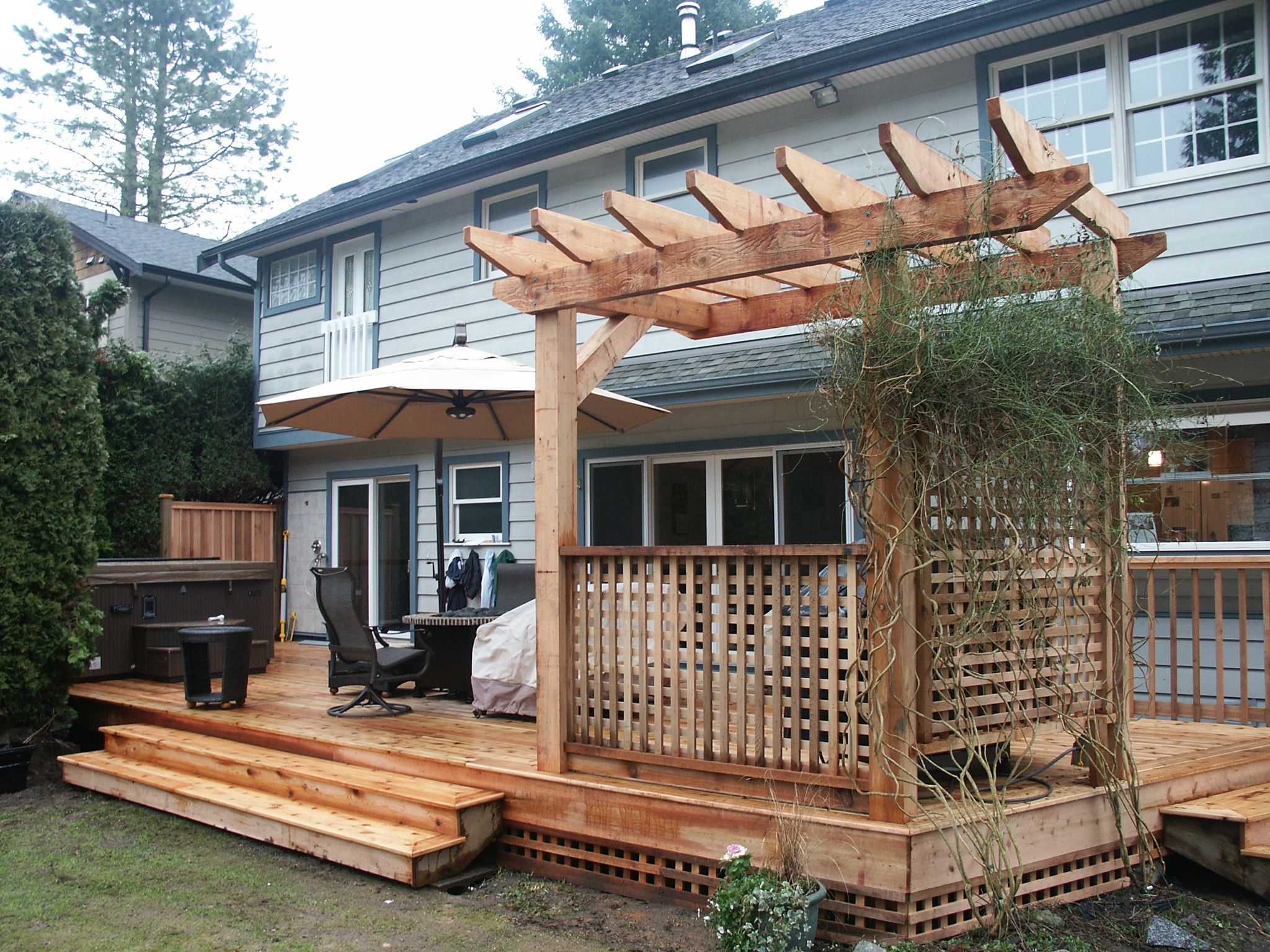 ground level cedar deck with bbq area decks pinterest cedar