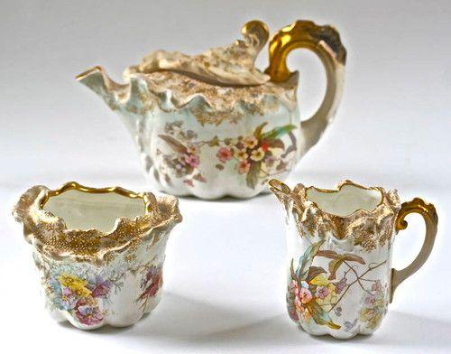 Antique 19thC Burslem Doulton Tea Set Teapot Creamer Sugar Bowl Flowers Moriage   eBay