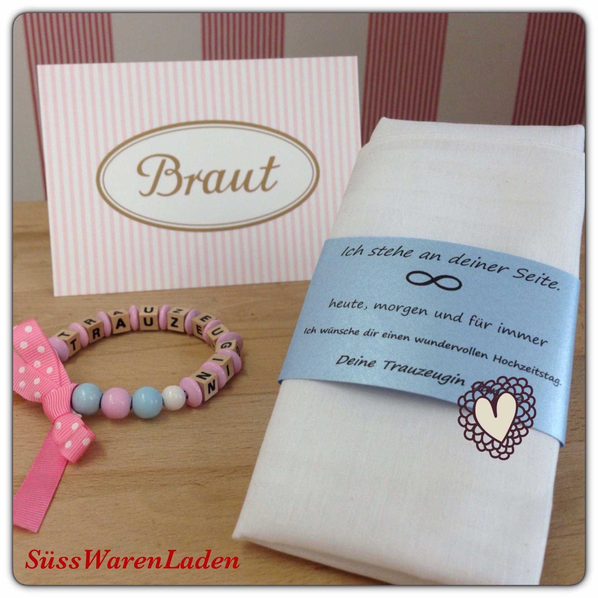 Geschenk fr die Braut Stofftaschentuch mit persnlichem Text Geschenk fr die Trauzeugin