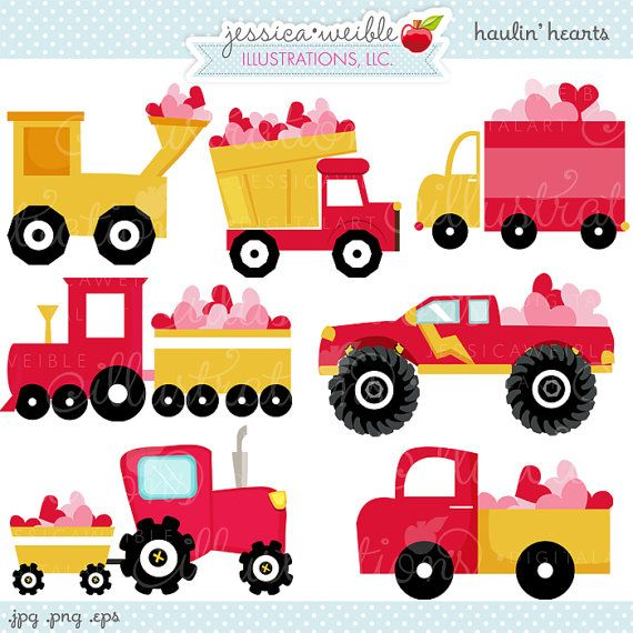 Haulin Hearts Cute Digital Clipart - Commercial Use OK - Heart ...