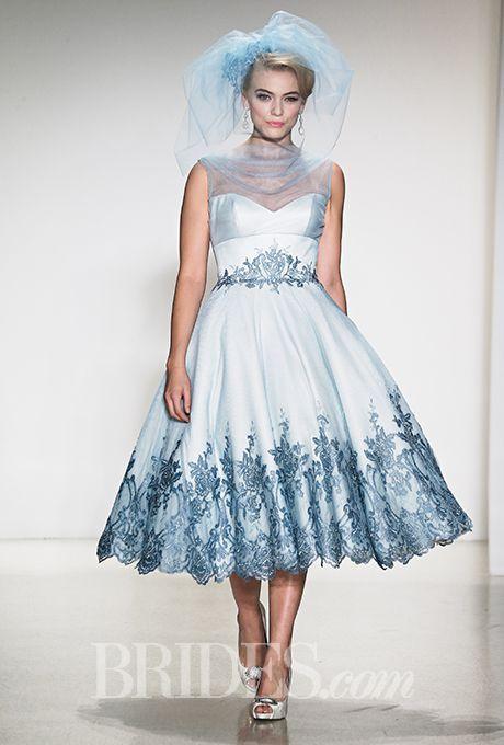 blue wedding tea length dress