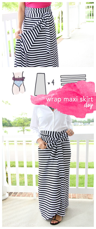 Wrap Maxi Skirt DIY | Diy nähen, Nähen und Handarbeiten