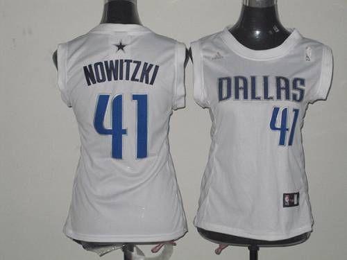 Mavericks  41 Dirk Nowitzki White Women Fashion Embroidered NBA Jersey!  Only  17.50USD 9bce97782