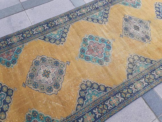 Vintage Runner Rug Hallway Oushak Area Turkish Wide Long 4u00273