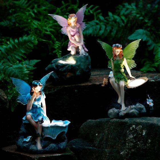 Gartenfiguren Elfen, 3er-Set mit Solar-LED-Lampen | von Gärtner ...