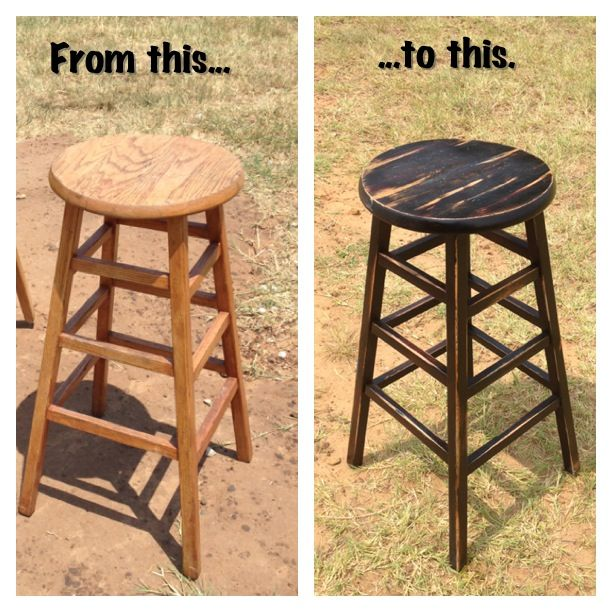Diy Refinished Bar Stool Paint Base With Black Flat Spray Paint