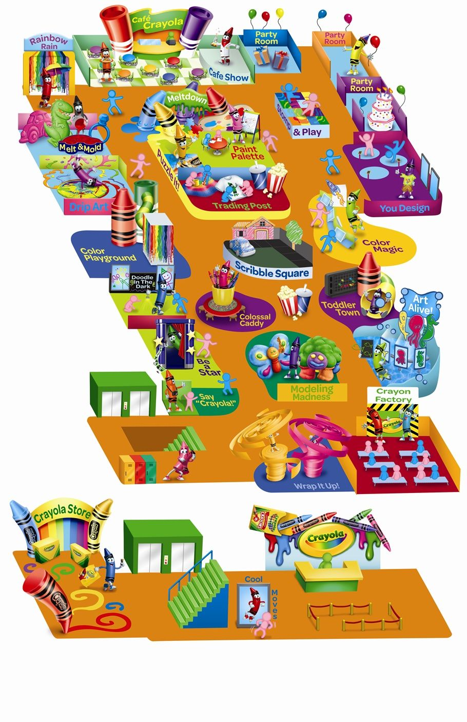 Florida Attractions Map.Crayola Store Attractions Map Floridamall Orlando Orlando