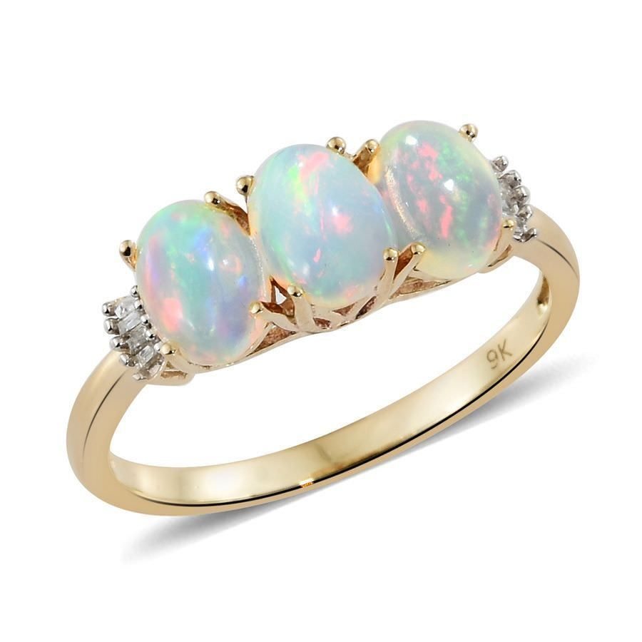Tjc ethiopian opal ring in ct yellow gold three stone for women