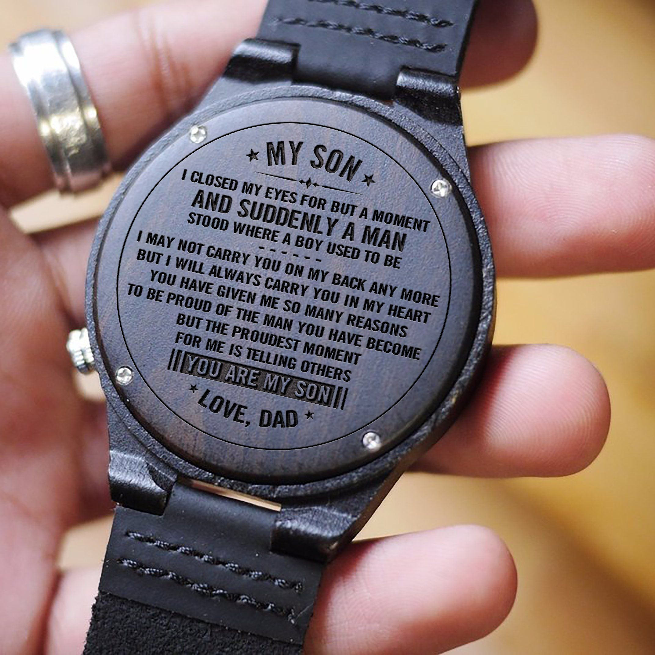 ec3782064eb9b W1551 - You are my son - From Dad To Son Engraved Wooden Watch