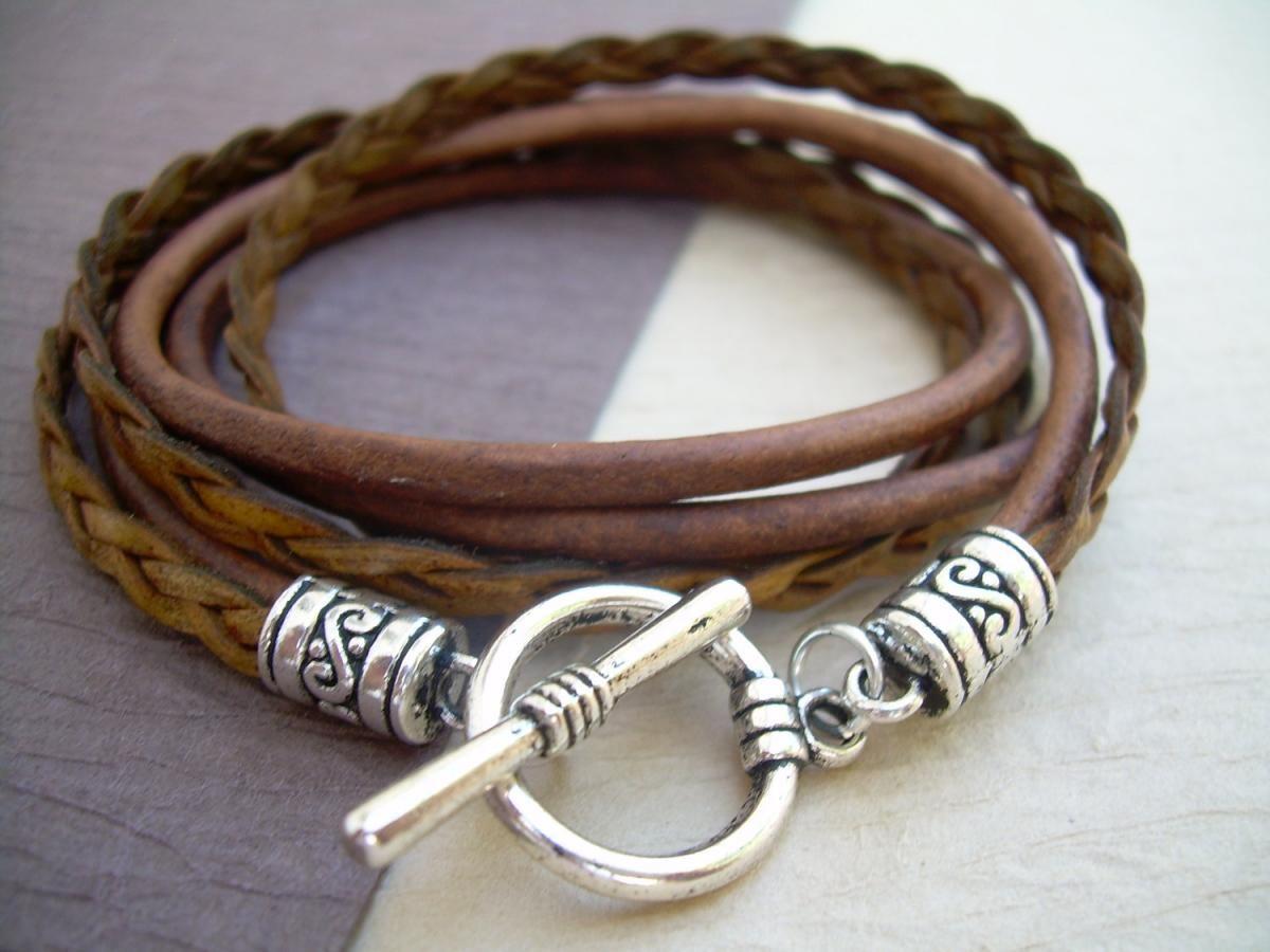 Mens, Womens, Unisex, Triple Wrap Leather Bracelet With Toggle Clasp   Light Antique