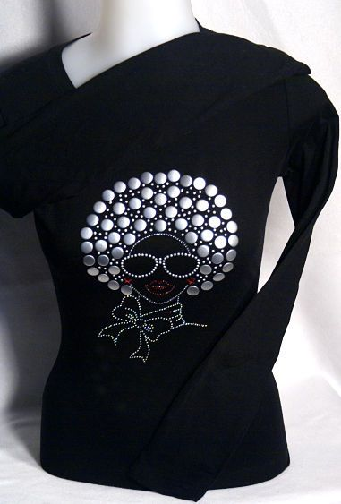 Afro Girl Nailhead Women/'s V Neck T-Shirts Plus Size Beautiful Lady Handmade