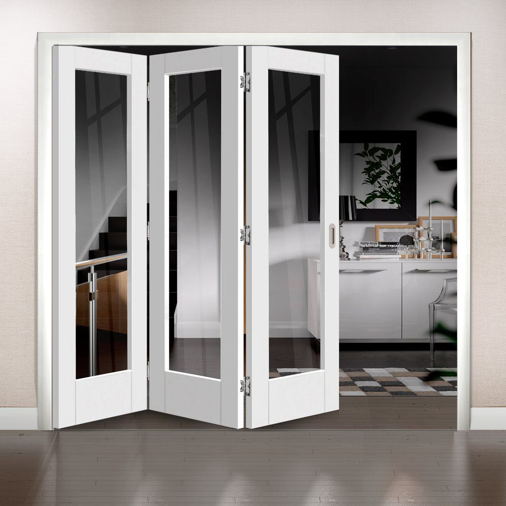 Freefold White Pattern 10 Style Folding 3 Door Set with Clear Glass ...