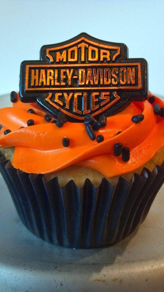 25 HARLEY DAVIDSON cupcake cake topper rings by AisforApronStrings