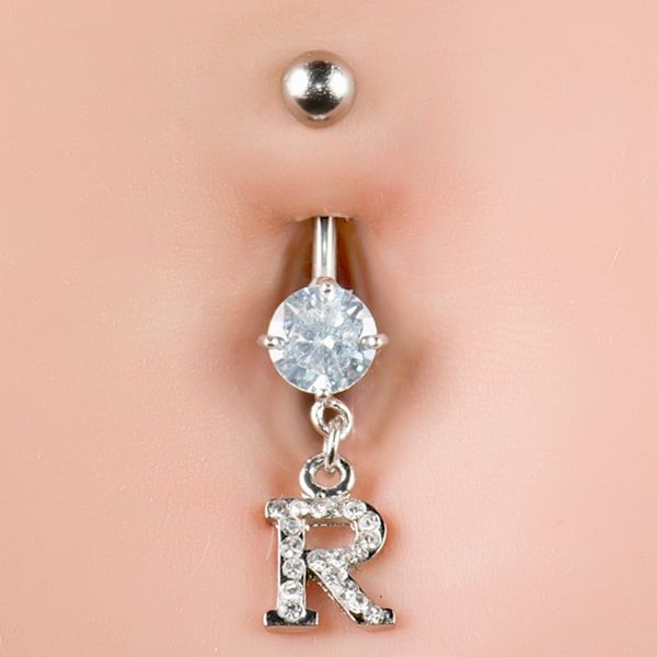 Cz Sparkling Initial R Dangle Belly Button Navel Piercing Ring 14g