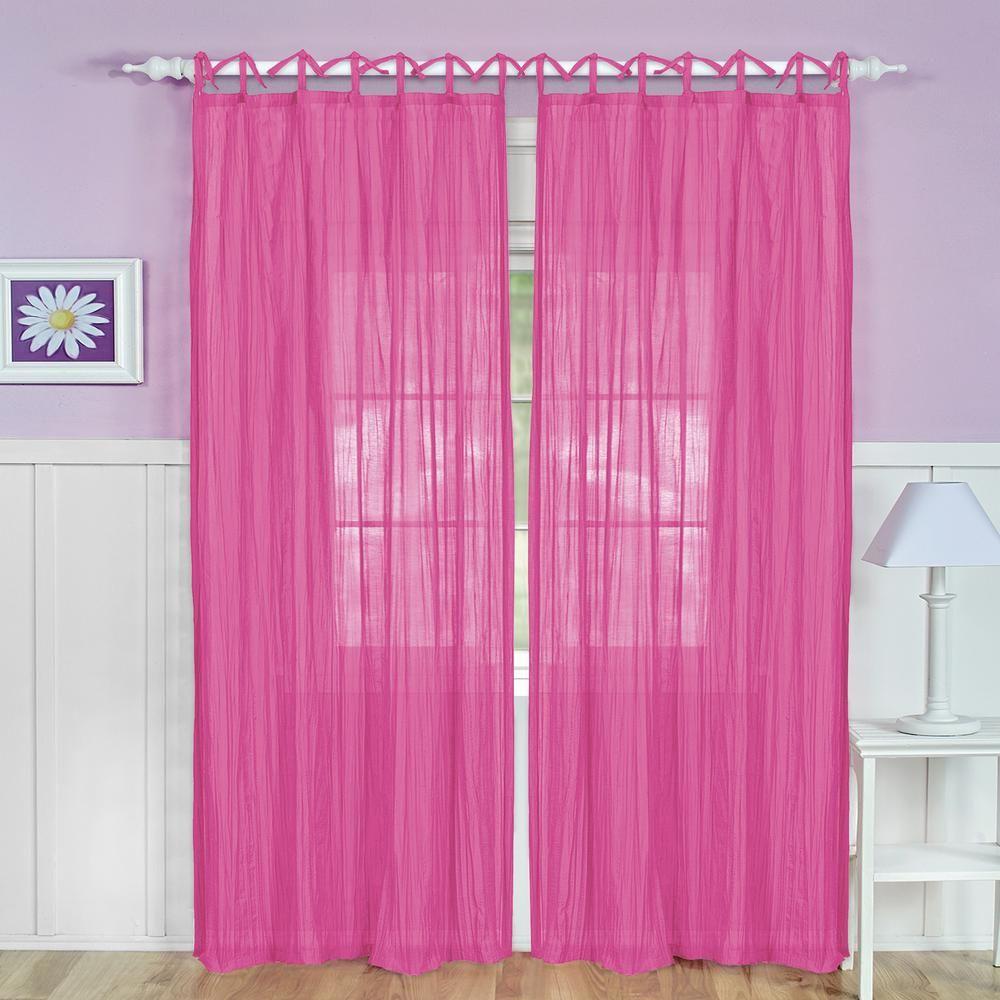 Elrene Greta Crushed Sheer Kids Window Curtain, Pink