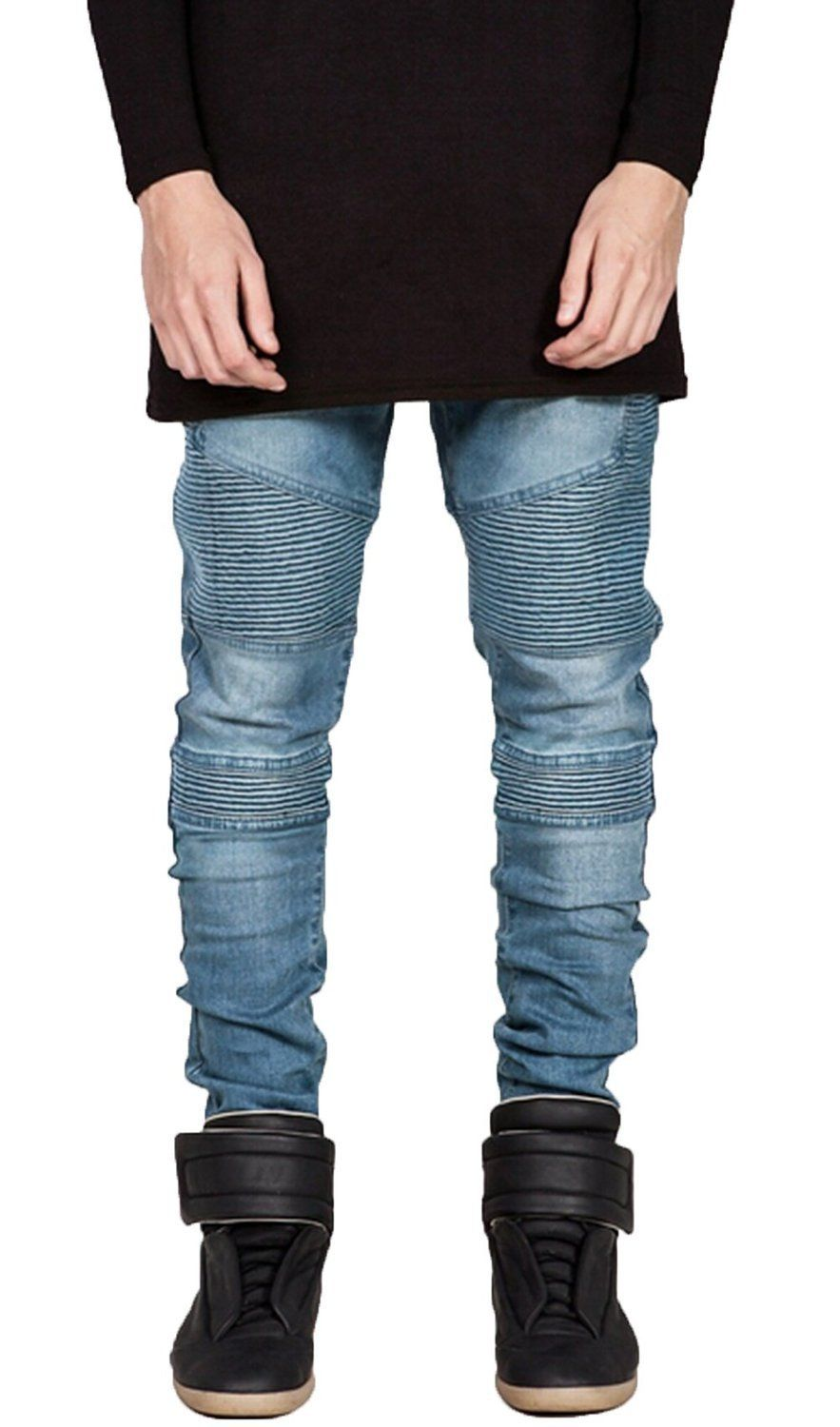 68e289ae OLRIK Mens Skinny Runway Distressed Slim Denim Biker Jeans Hiphop Pants at  Amazon Men's Clothing store: