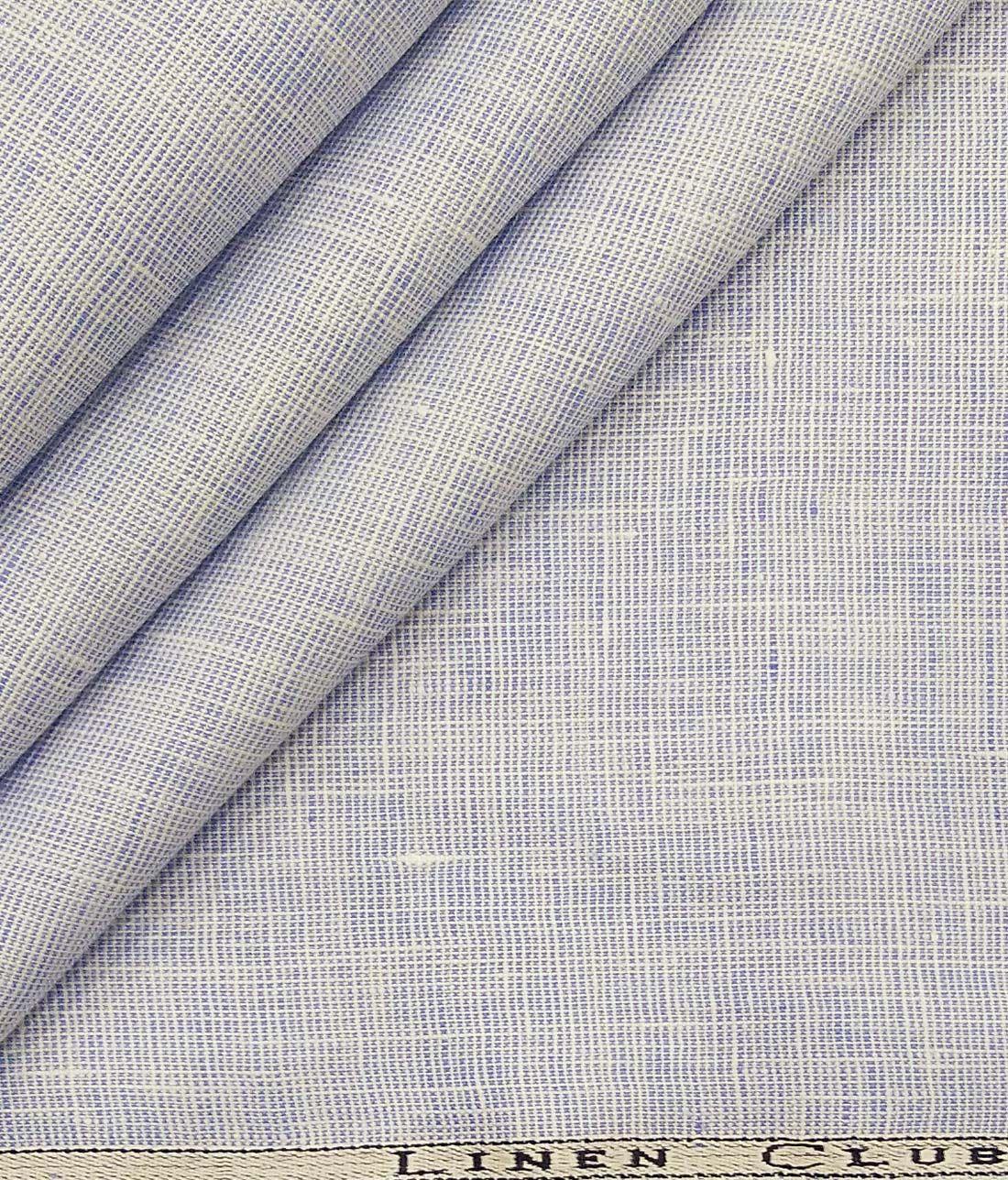 Linen Club White Blue Structured 100 Pure Linen Shirt Fabric 1 60 M Fabric Pure Linen Fabric Online