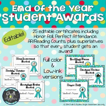 End Of Year Student Awards Certificates  Editable  Students And