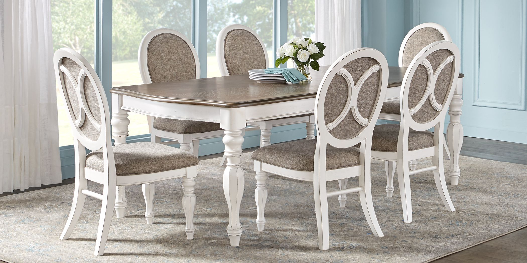 French Market White 5 Pc Rectangle Dining Room In 2021 Round Dining Room Sets Dining Room Sets White Dining Table