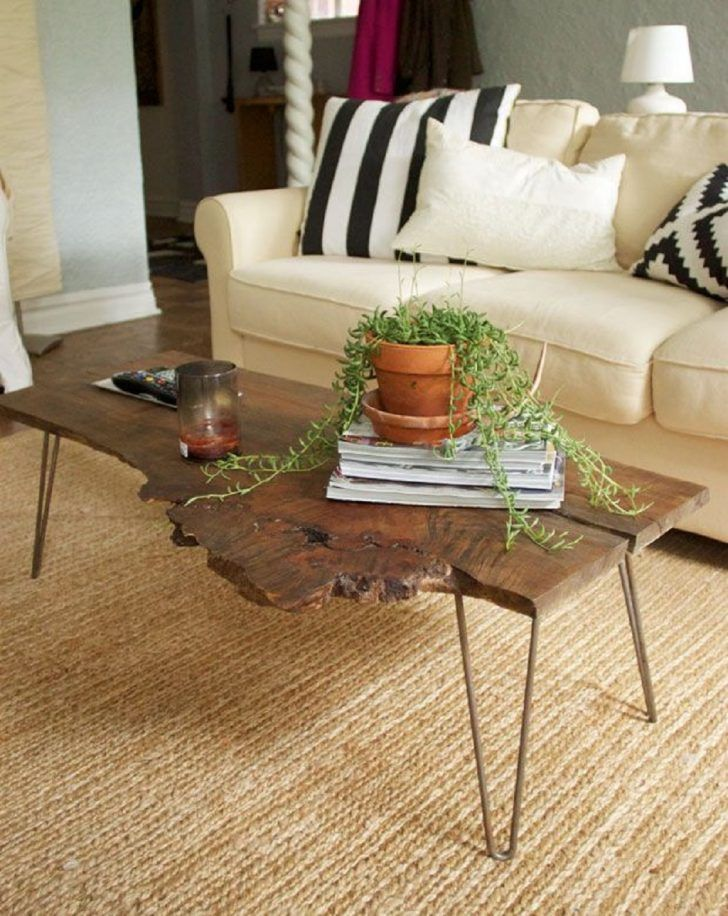 Simple Diy Natural One Piece Wood Slab Coffee Table With 4 Steel Legs Unique Ideas Of Tables For Living Room Furniture