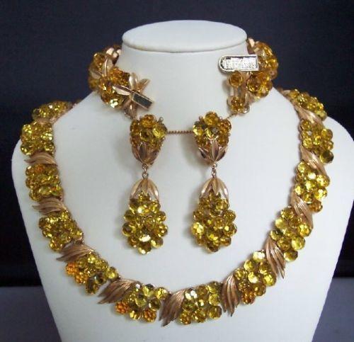 Crown Trifari Briolette Parure Necklace Bracelet Earrings | eBay