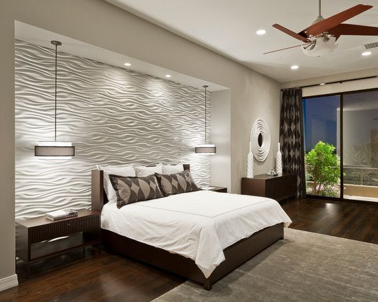 Bedroom Design Cool Contemporary Bedroom With White Texture Bedroom Wall Designs Also Comely Twin Pendant Lamp Also Mod Brown Modern Bedroom Design Contemporary Bedroom Home Bedroom