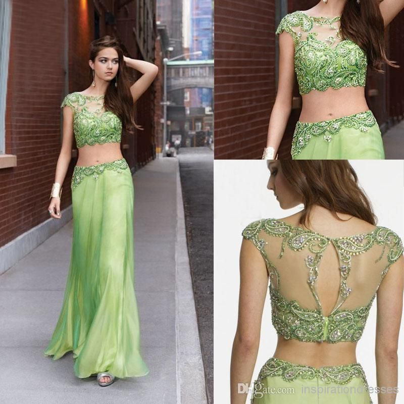 Cheap 2014 Prom Dresses Two Piece Illusion Rhinestone Glistening Beading Chiffon Long Length Party Evening Dhyz 04 As Low 11861