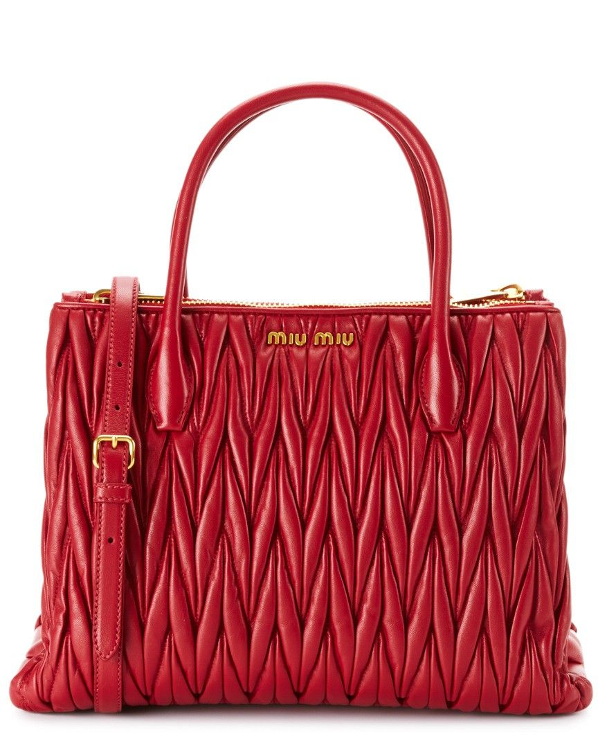 9ed4c06b87 Miu Miu Matelasse Leather Double Handle Tote Red - this would be fun for  Christmas.