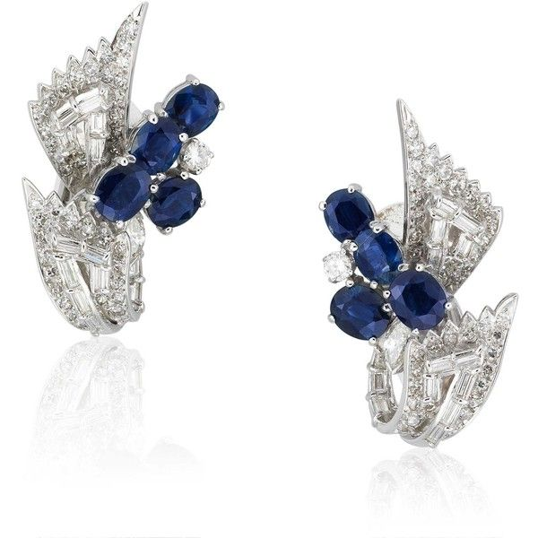 A PAIR OF SAPPHIRE AND DIAMOND EAR CLIPS ❤ liked on Polyvore featuring earrings