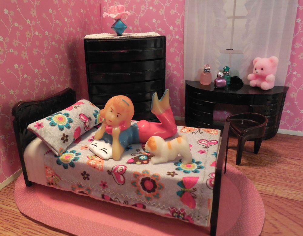 Plasco GIRL\u0027S BEDROOM SET Vintage Tin Dollhouse Furniture Ideal