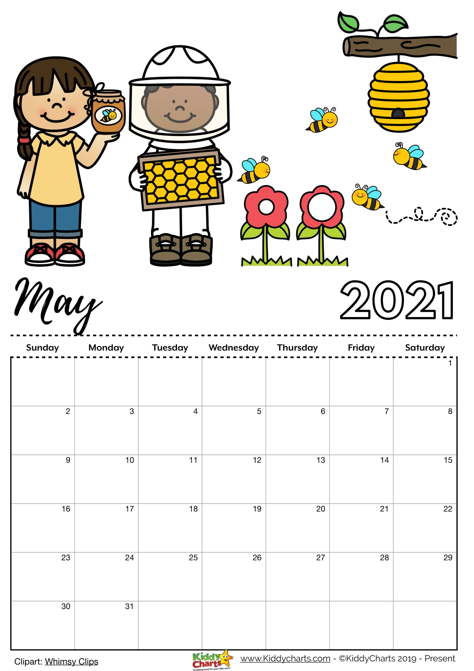 Free 2021 Cartoon Calendar Check our new free printable 2021 calendar! | Kids calendar