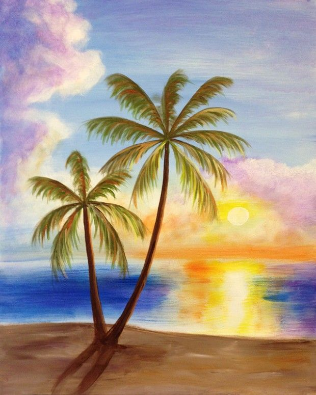 Jamaican Palm Trees Painting Art Tropical Art