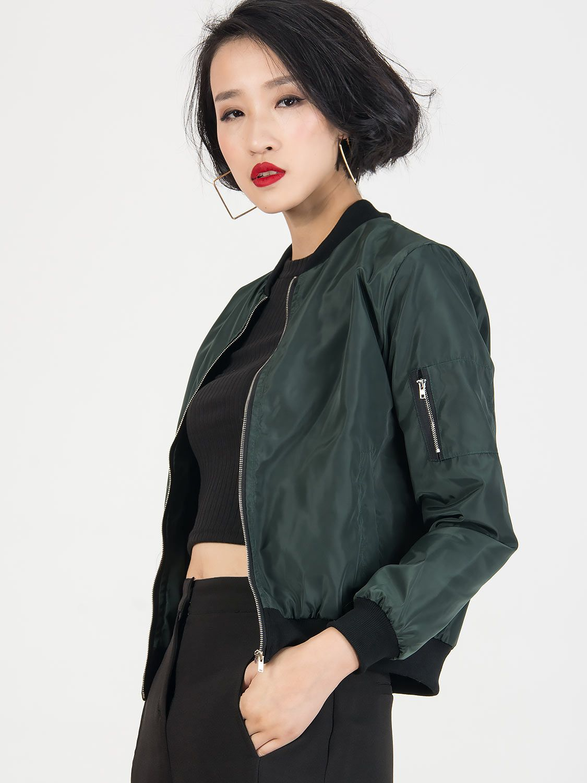 Dark Green Zipper Detail Long Sleeve Bomber Jacket Choies Com Bomber Jacket Jackets Spring Bomber Jacket [ 1500 x 1125 Pixel ]