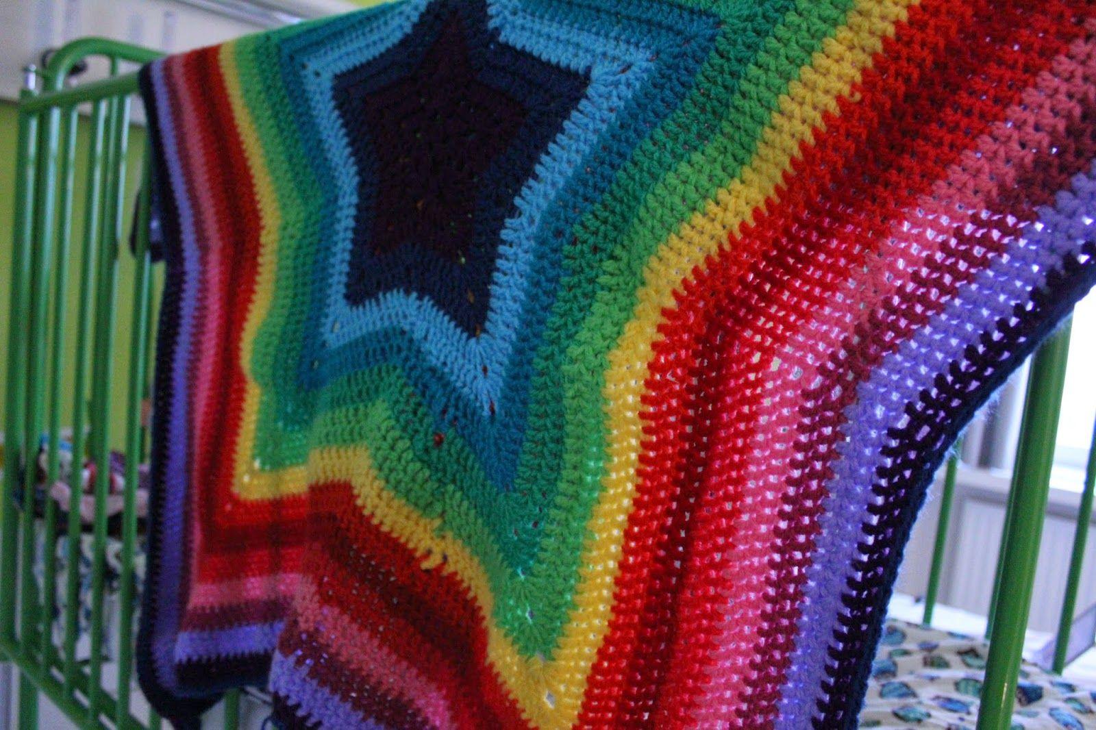 Crochet Star Rainbow Blanket Haken Ster Regenboog Deken Baby