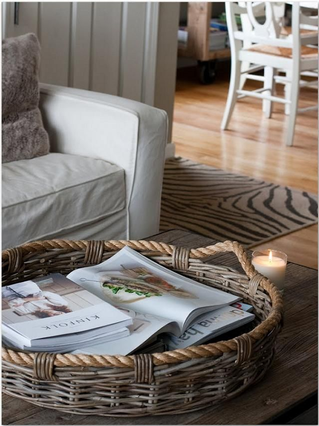 Beautiful Coffee Table Basket Tray Rieten Manden Manden Decoratie
