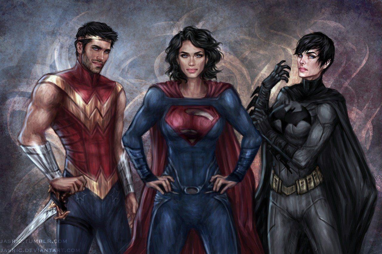 40 Pieces Of Genderbending Fan Art That Ll Make You Feel All Funny Dc Trinity Wonder Man Superhero
