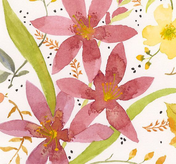 Watercolored Lilies with Flower Buds Fern by EdithJacksonDesigns