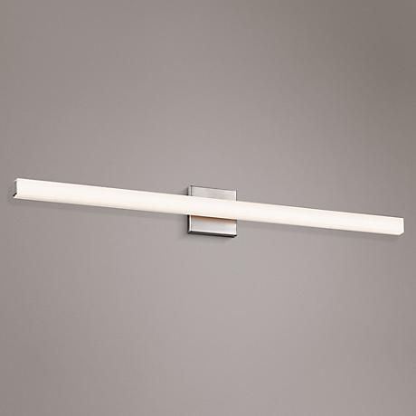 An instant classic this satin nickel finish led bath light from sonneman features an optical acrylic diffuser for a gentle glow style at lamps plus