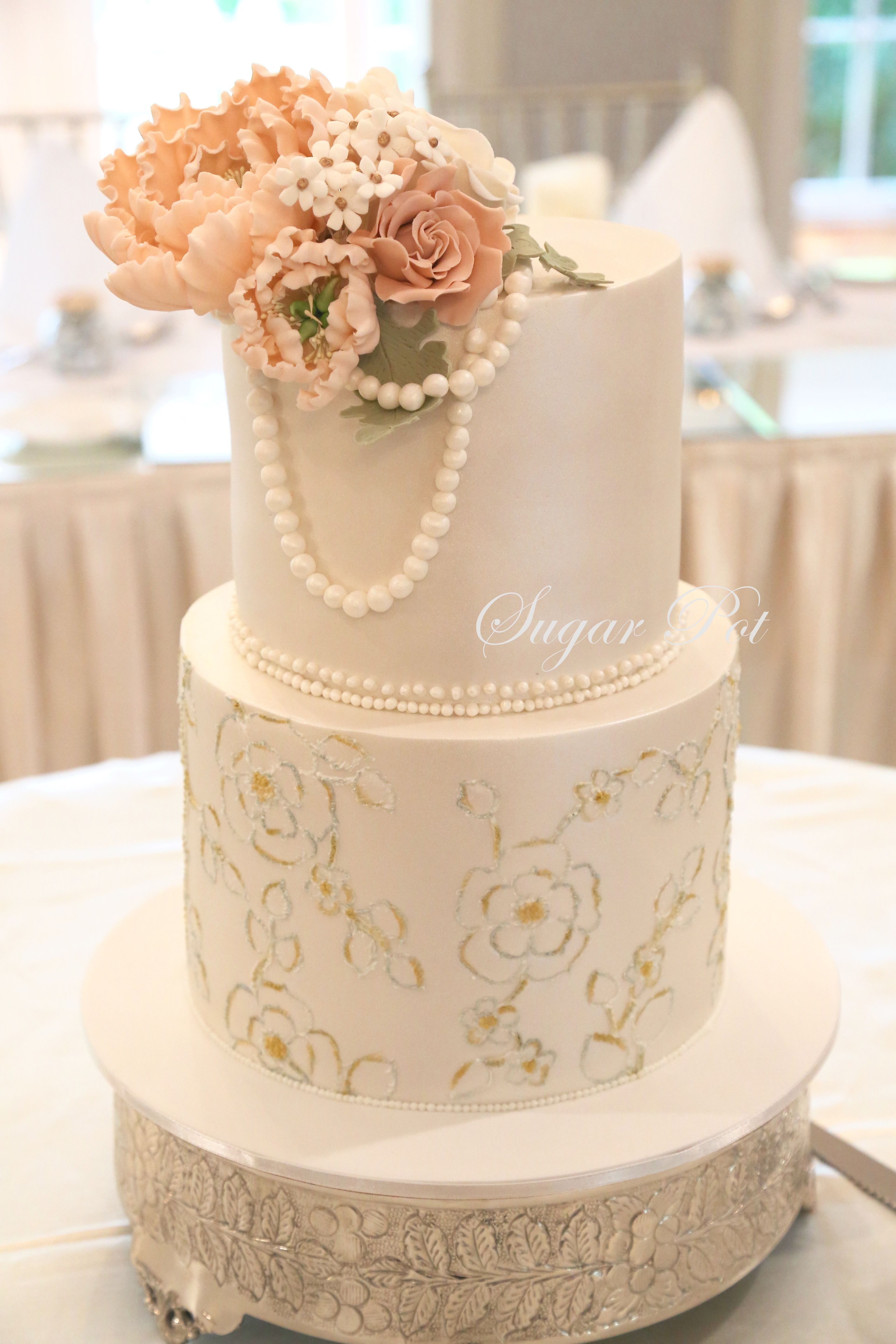 Two Tier Vintage Themed Wedding Cake I Love Cake Pinterest