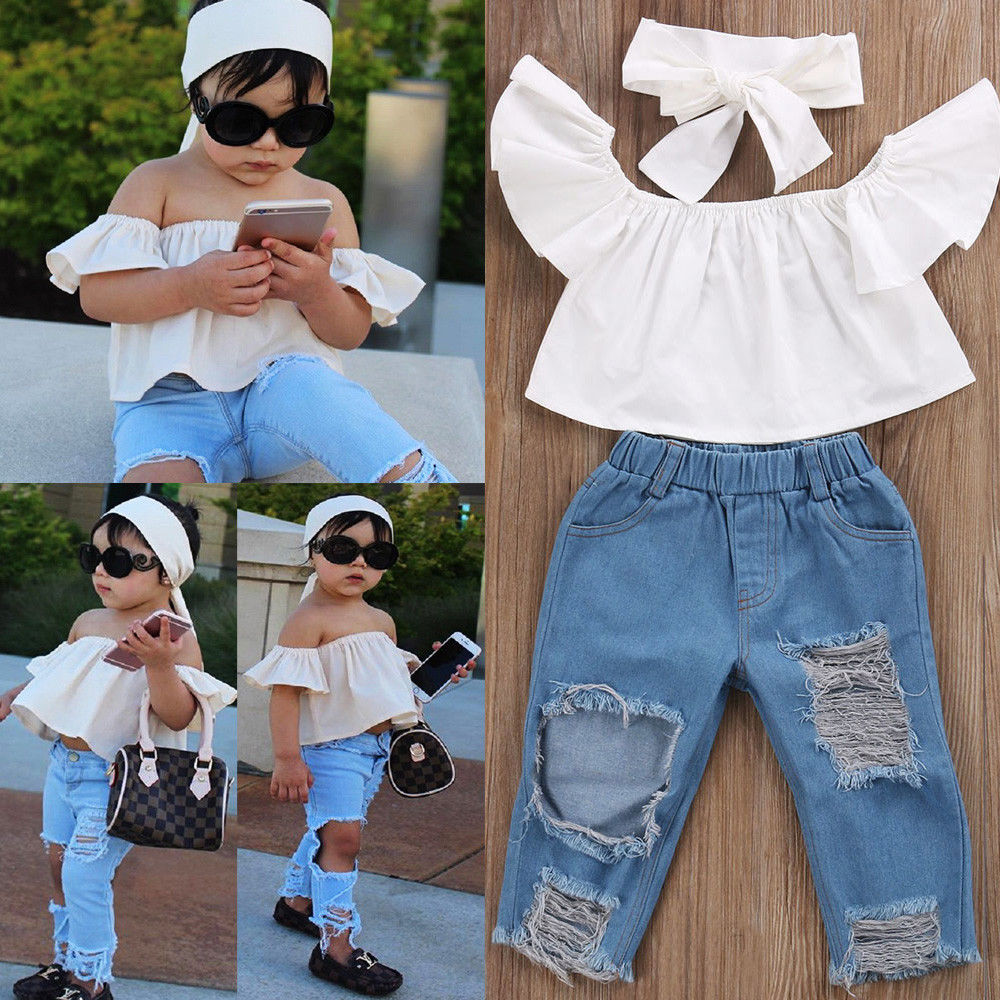 Toddler Kids Baby Girls Off Shoulder Tops Denim Pants Jeans Outfits Set Clothes
