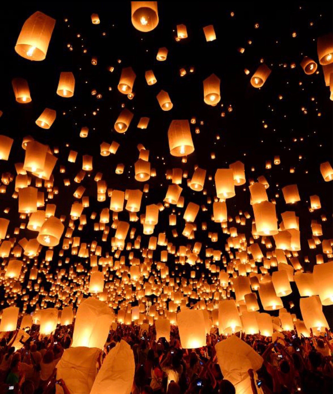 White Chinese Paper Lanterns Flying Wedding