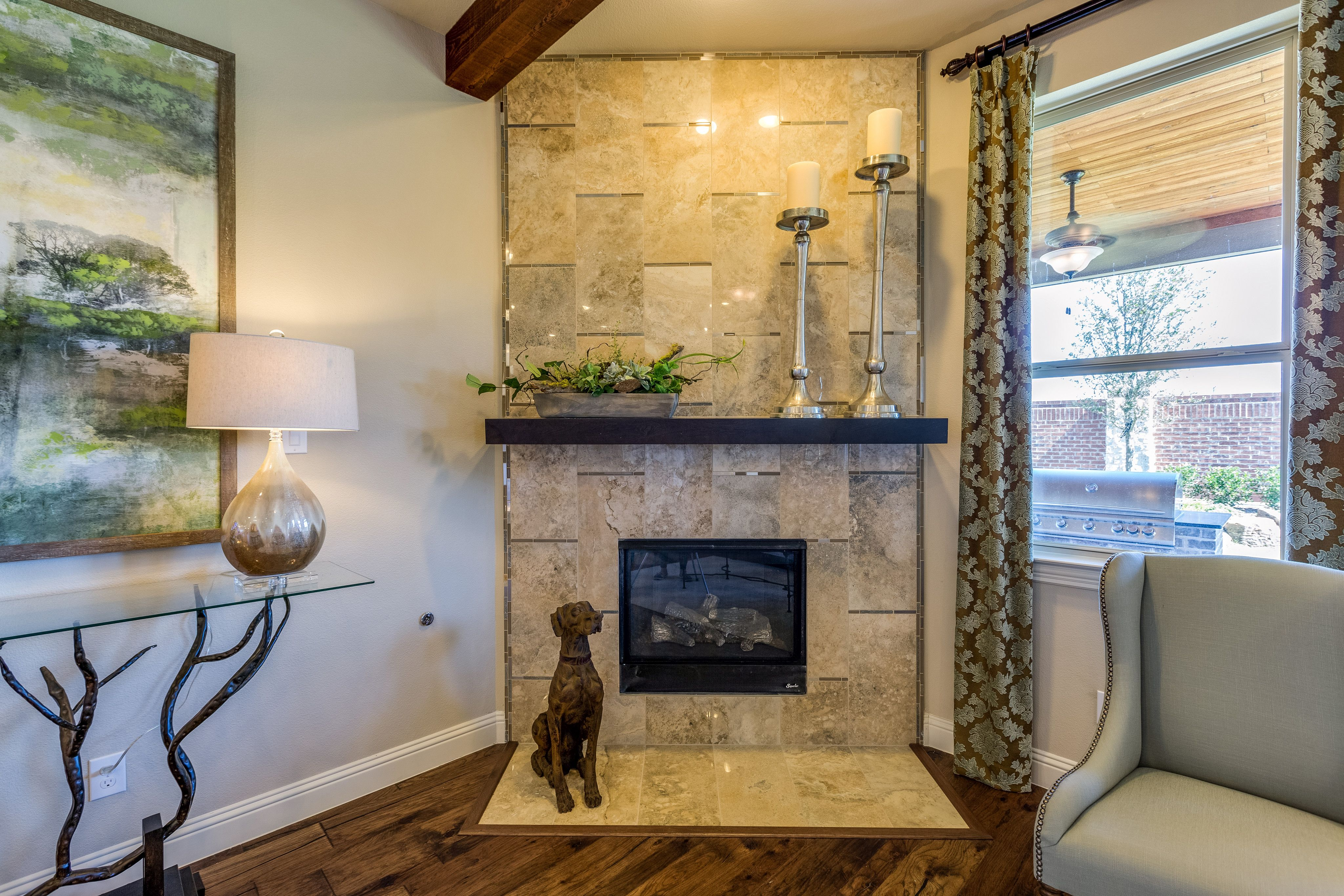 gehan homes sycamore fireplace beige stone fireplace with metallic